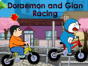 Doraemon and Gian Racing