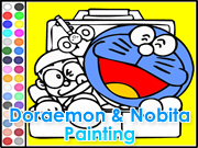 Doraemon and Nobita Painting