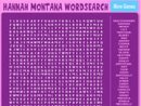 Hannah Montana Wordsearch